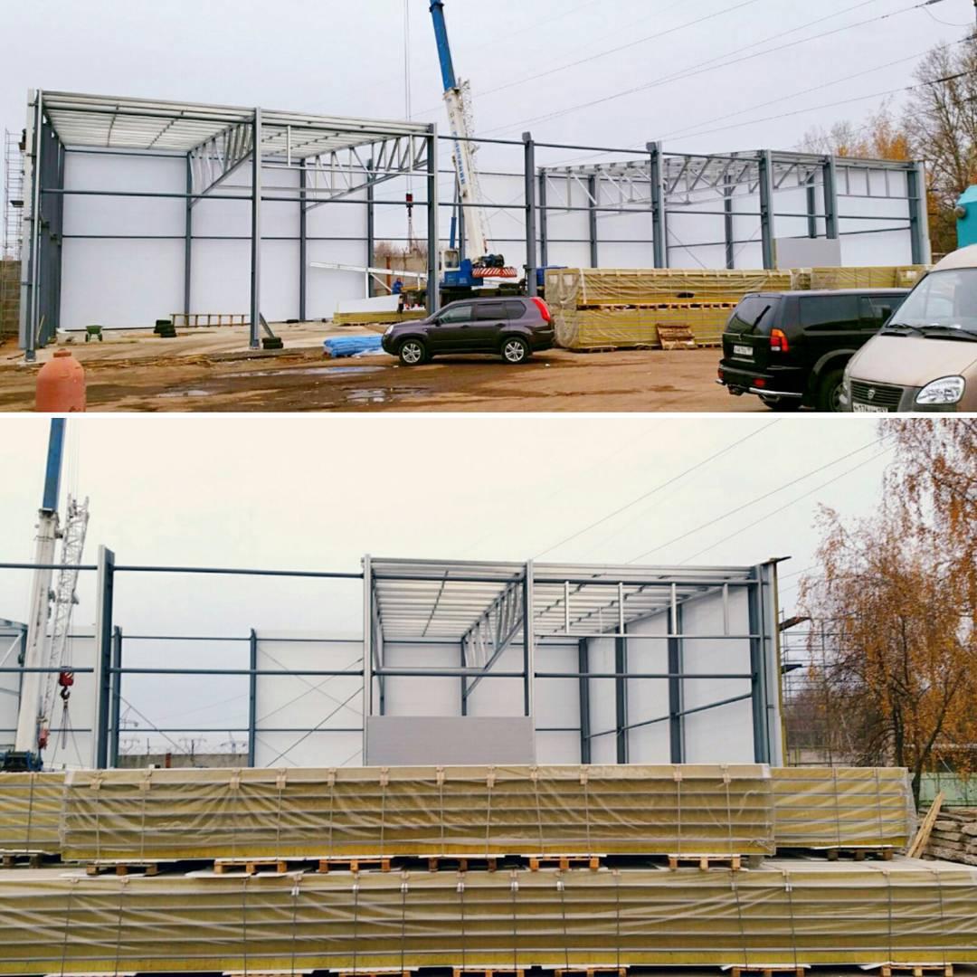 Больше ЛМК в России www.steelbuildings.ru Востребованные монтажники Эвриал приступили к монтажу сэндвич-панелей объекта на ул. Красная Сосна, утеплённого каркасного сооружения, общей площадью 1 648 кв.м:
